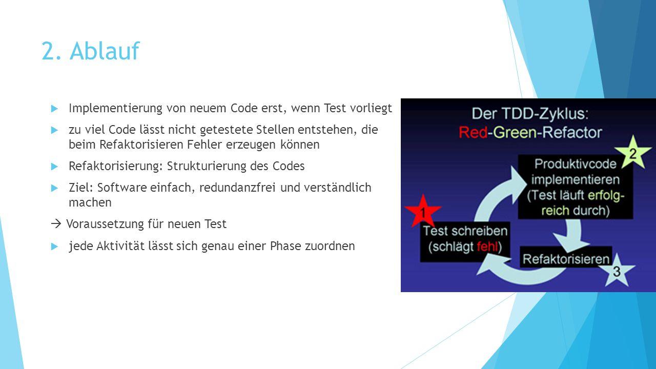 2. Ablauf Implementierung von neuem Code erst, wenn Test vorliegt