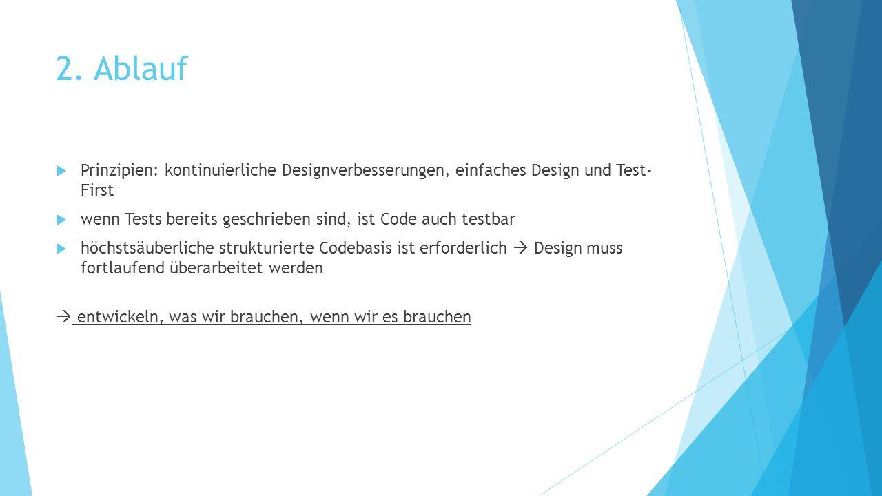 2. Ablauf Prinzipien: kontinuierliche Designverbesserungen, einfaches Design und Test- First.