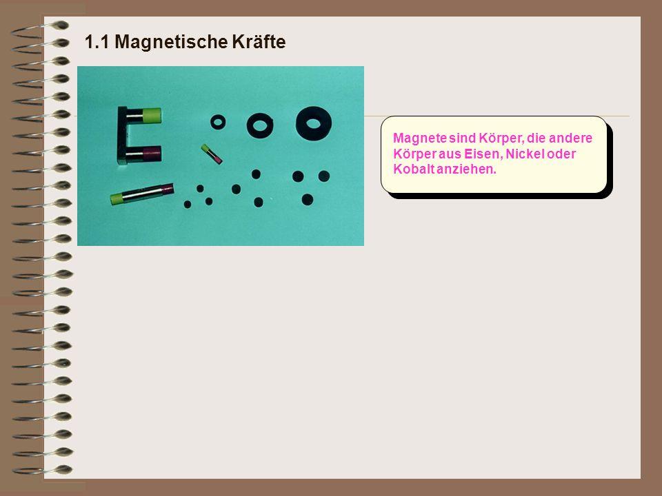 1.1 Magnetische Kräfte Magnete sind Körper, die andere Körper aus Eisen, Nickel oder Kobalt anziehen.