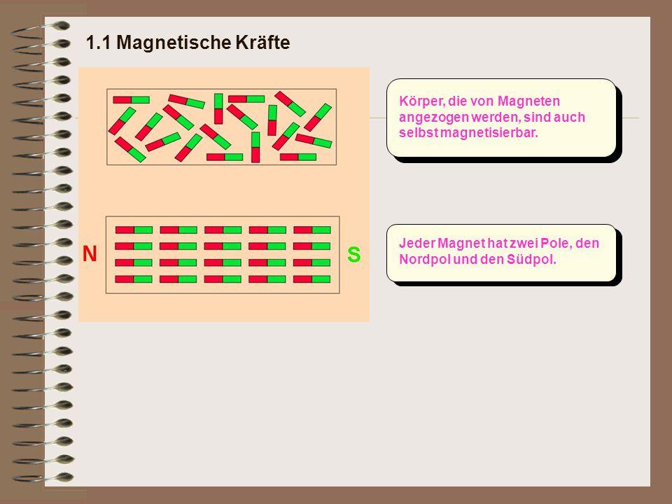 1.1 Magnetische Kräfte Körper, die von Magneten angezogen werden, sind auch selbst magnetisierbar.