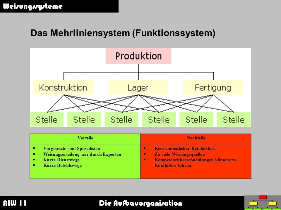 Das Mehrliniensystem (Funktionssystem)