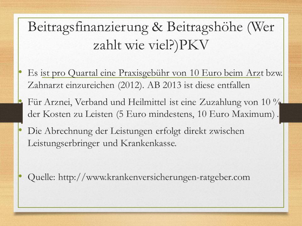 Beitragsfinanzierung & Beitragshöhe (Wer zahlt wie viel )PKV
