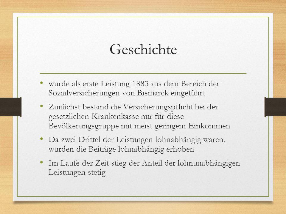 Geschichte wurde als erste Leistung 1883 aus dem Bereich der Sozialversicherungen von Bismarck eingeführt.