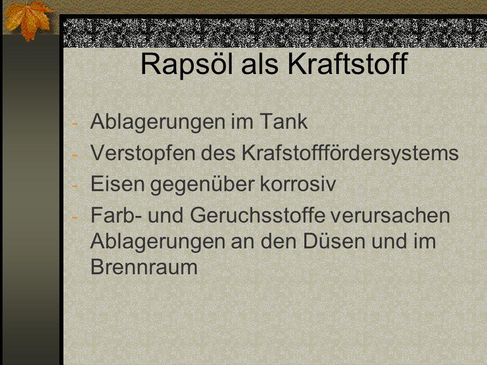 Rapsöl als Kraftstoff Ablagerungen im Tank