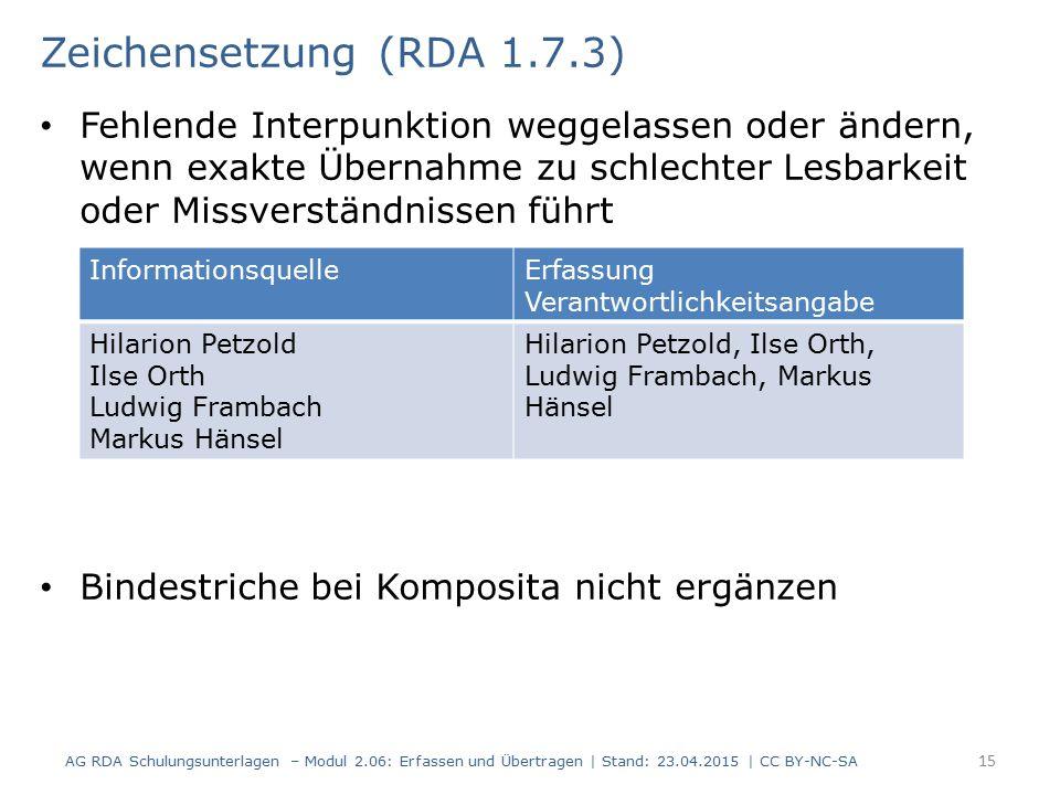 Zeichensetzung (RDA 1.7.3)