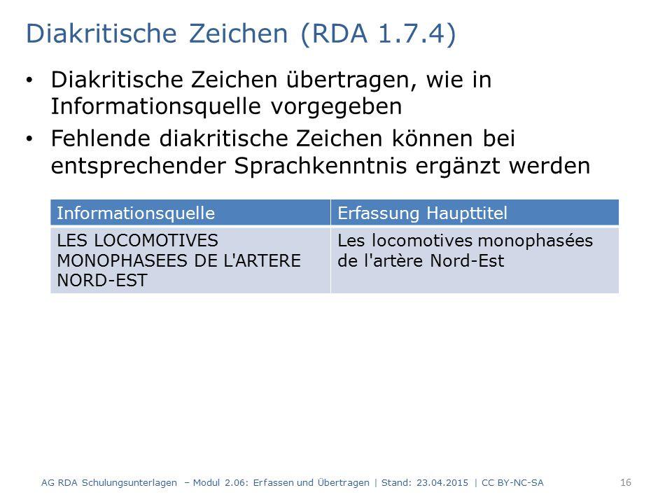 Diakritische Zeichen (RDA 1.7.4)