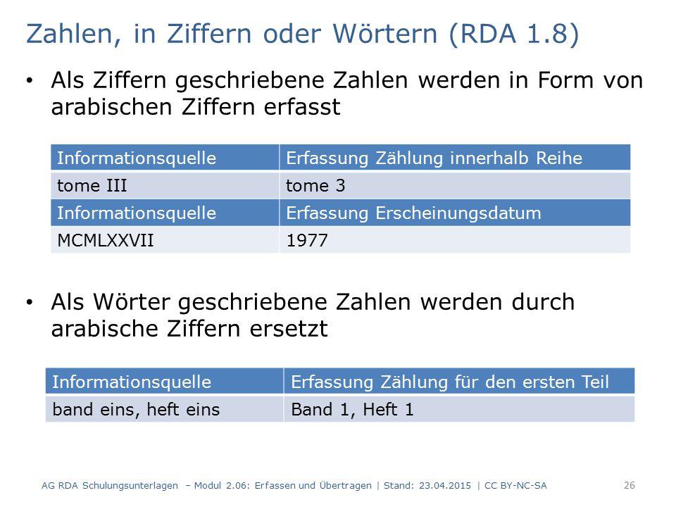 Zahlen, in Ziffern oder Wörtern (RDA 1.8)