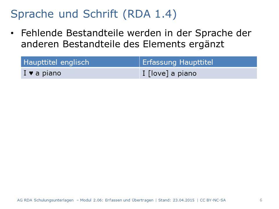 Sprache und Schrift (RDA 1.4)