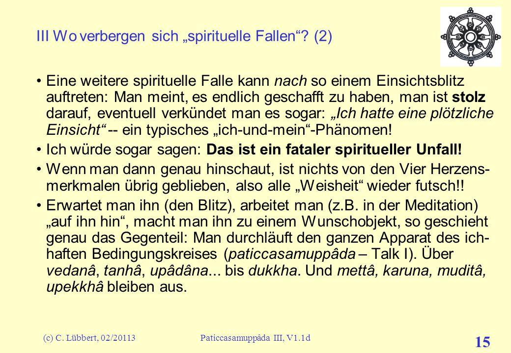 "III Wo verbergen sich ""spirituelle Fallen (2)"