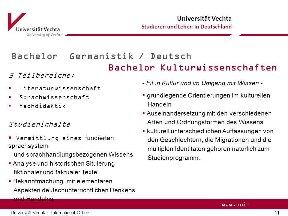 Bachelor Germanistik / Deutsch Bachelor Kulturwissenschaften