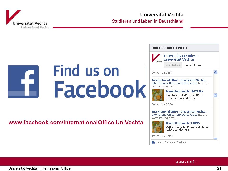 www.facebook.com/InternationalOffice.UniVechta