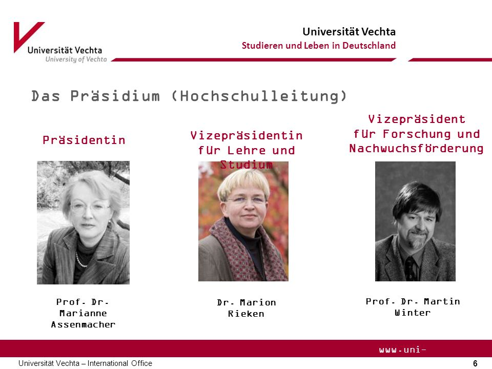 für Forschung und Nachwuchsförderung Prof. Dr. Marianne Assenmacher