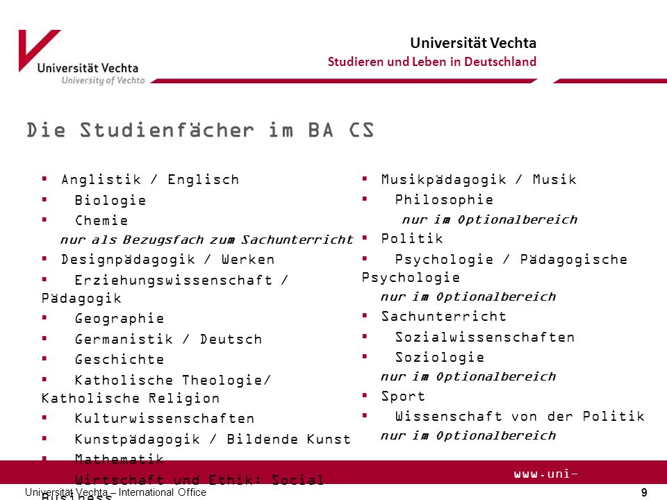 Die Studienfächer im BA CS
