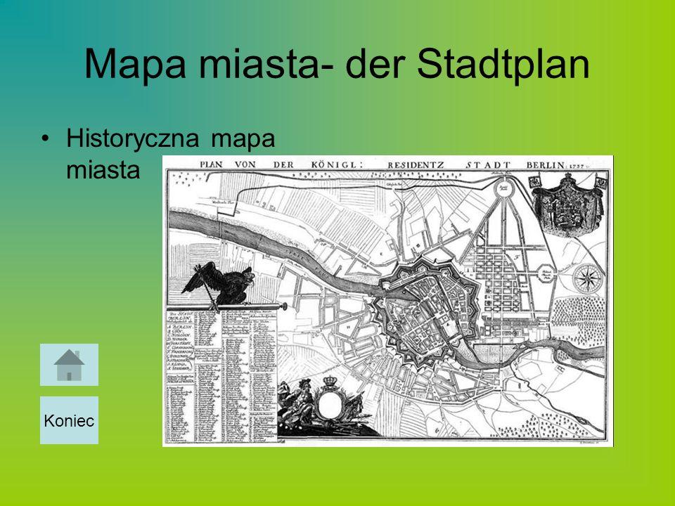 Mapa miasta- der Stadtplan