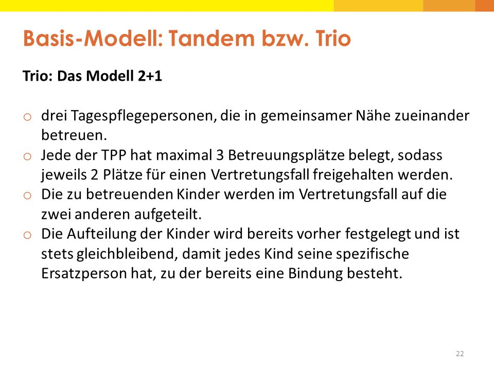 Basis-Modell: Tandem bzw. Trio