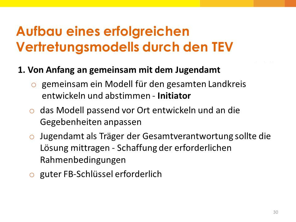 Aufbau eines erfolgreichen Vertretungsmodells durch den TEV