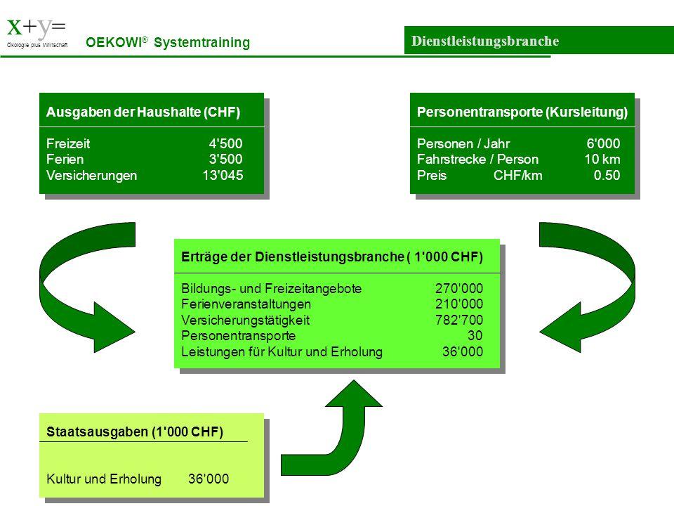 x+y= Dienstleistungsbranche OEKOWI® Systemtraining