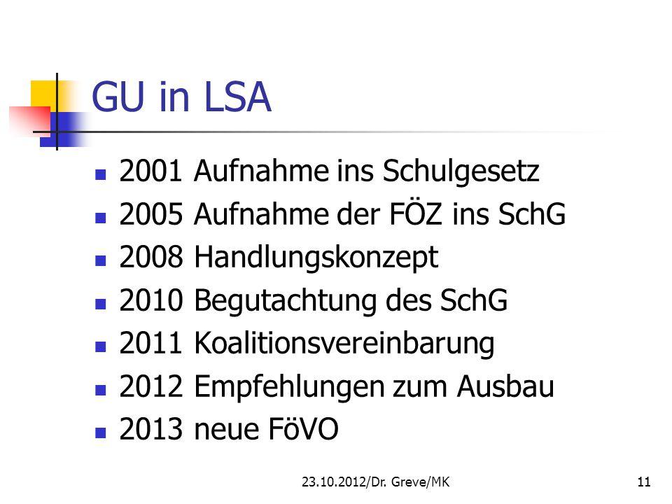 GU in LSA 2001 Aufnahme ins Schulgesetz 2005 Aufnahme der FÖZ ins SchG