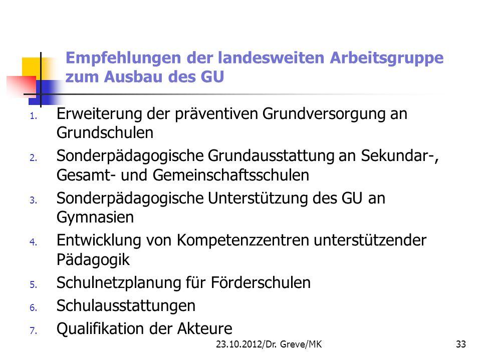Empfehlungen der landesweiten Arbeitsgruppe zum Ausbau des GU