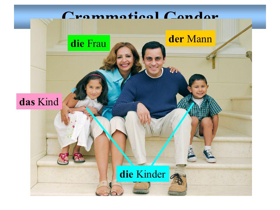 Grammatical Gender der Mann die Frau das Kind die Kinder