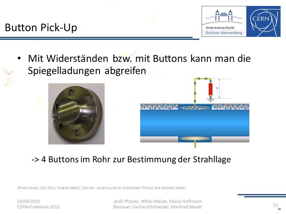 Button Pick-Up Mit Widerständen bzw. mit Buttons kann man die Spiegelladungen abgreifen. -> 4 Buttons im Rohr zur Bestimmung der Strahllage.
