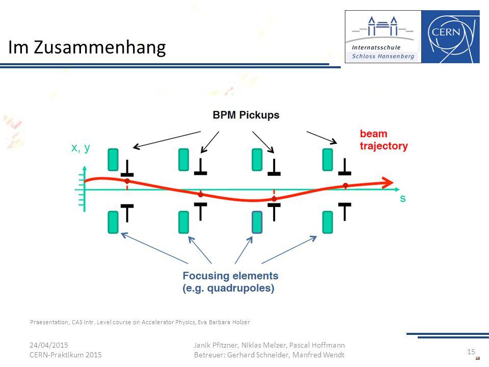 Im Zusammenhang 24/04/2015 CERN-Praktikum 2015