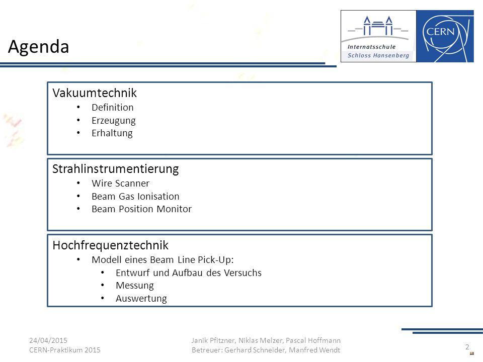 Agenda Vakuumtechnik Strahlinstrumentierung Hochfrequenztechnik