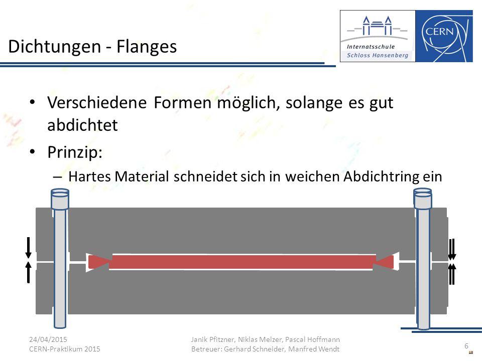 Dichtungen - Flanges Verschiedene Formen möglich, solange es gut abdichtet. Prinzip: Hartes Material schneidet sich in weichen Abdichtring ein.