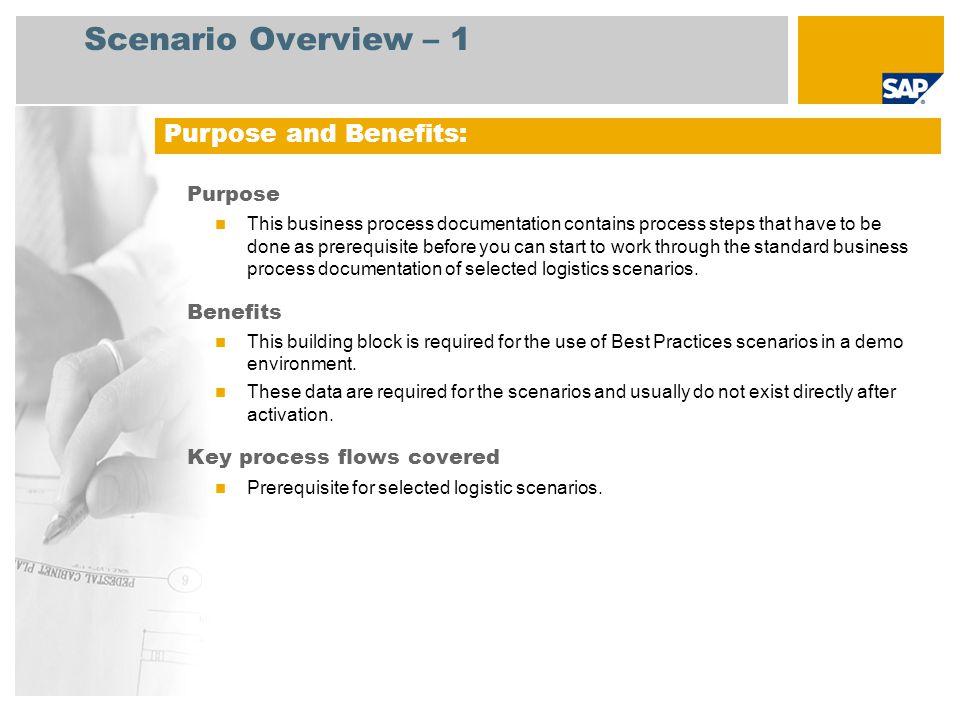 Scenario Overview – 1 Purpose and Benefits: Purpose Benefits