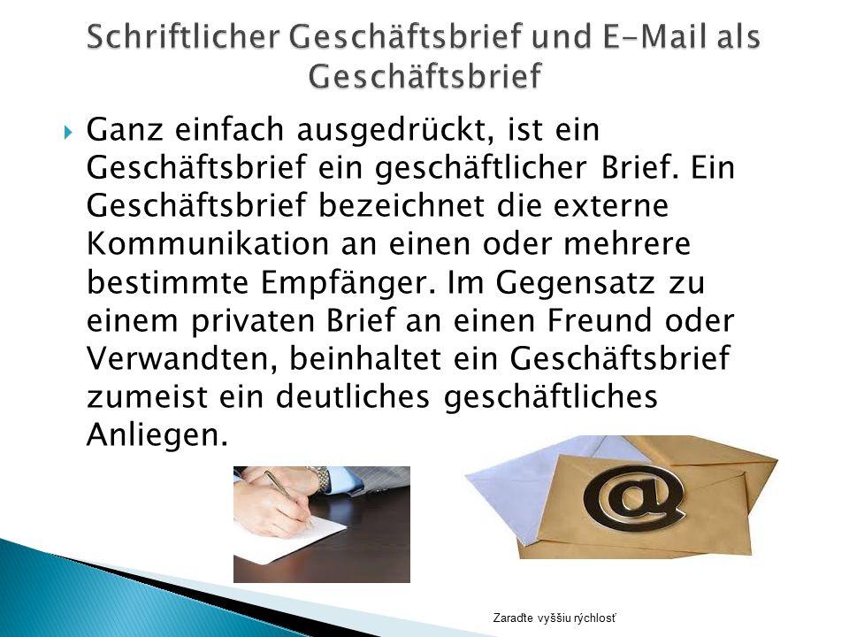 Schriftlicher Geschäftsbrief und E-Mail als Geschäftsbrief