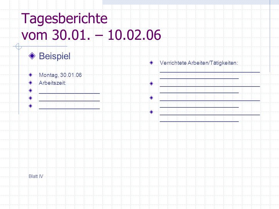 Tagesberichte vom 30.01. – 10.02.06 Beispiel Montag, 30.01.06