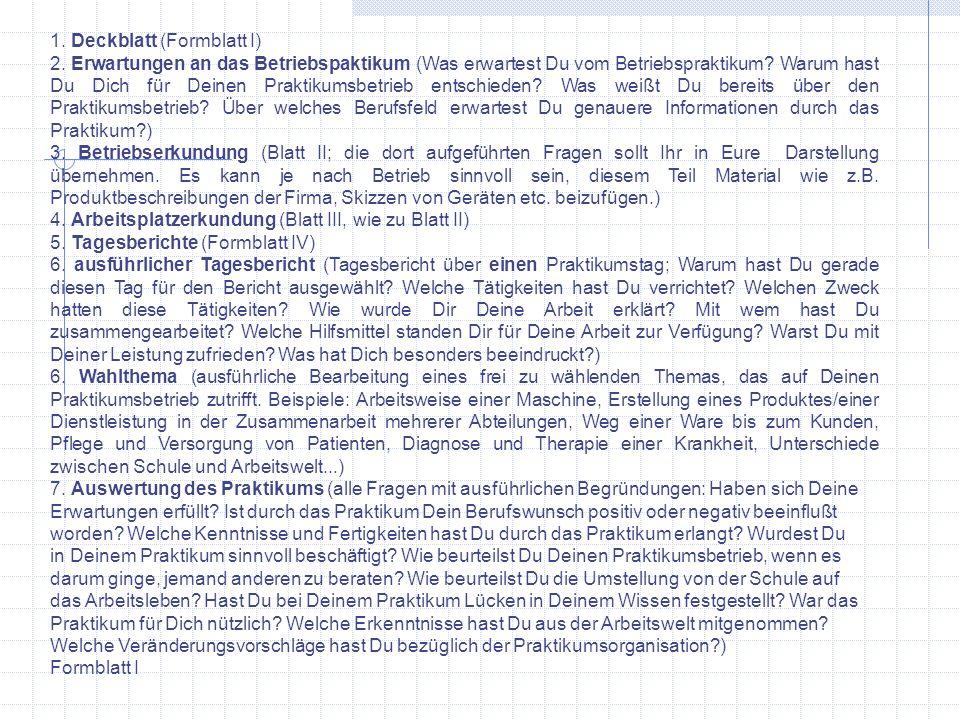 1. Deckblatt (Formblatt I)