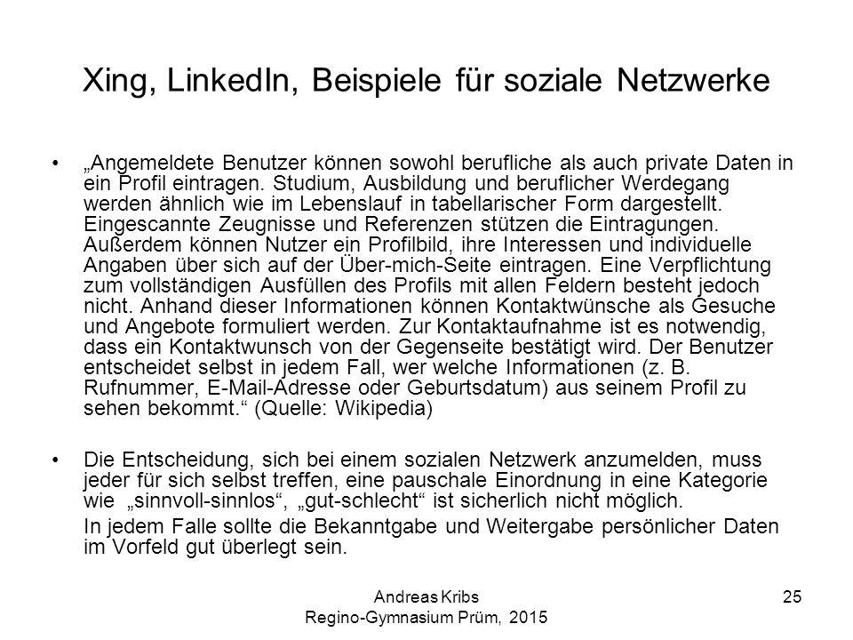 Xing, LinkedIn, Beispiele für soziale Netzwerke