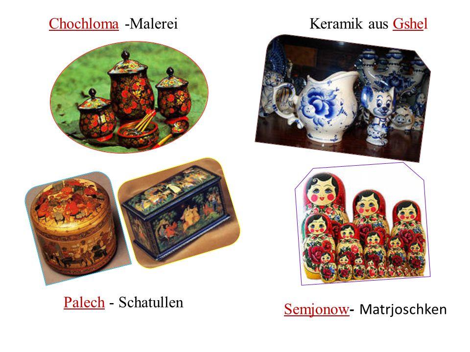 Chochloma -Malerei Keramik aus Gshel Palech - Schatullen Semjonow- Matrjoschken