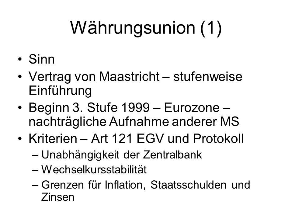 Währungsunion (1) Sinn Vertrag von Maastricht – stufenweise Einführung