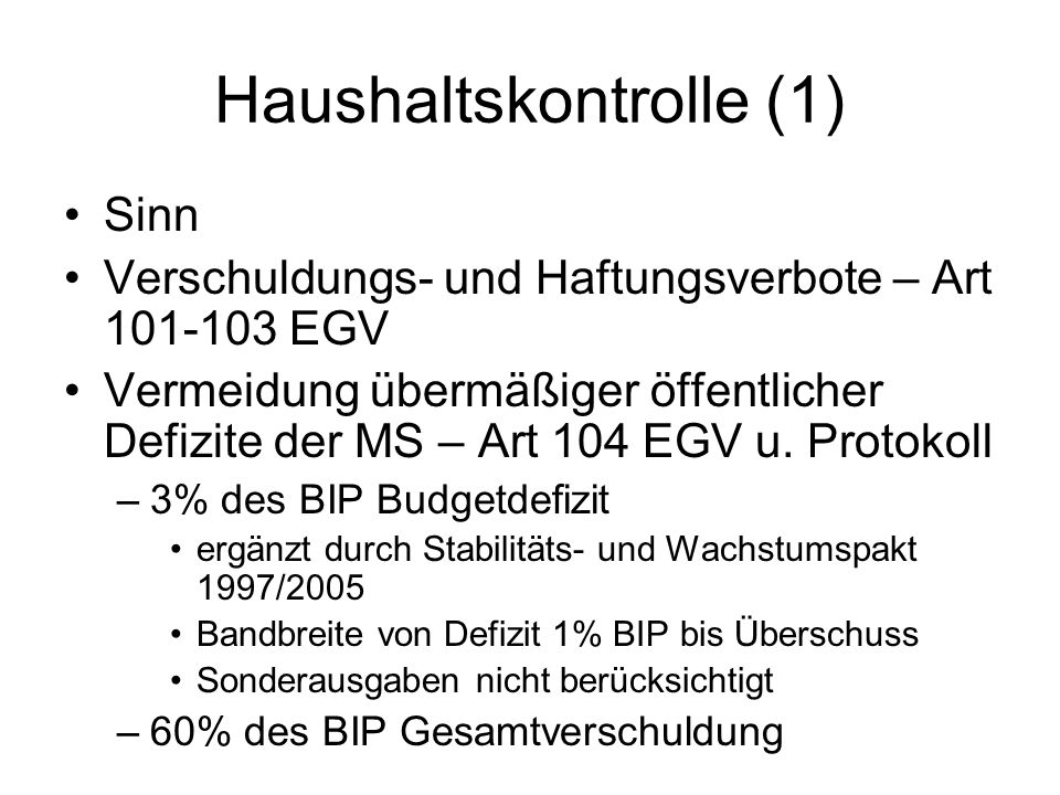 Haushaltskontrolle (1)