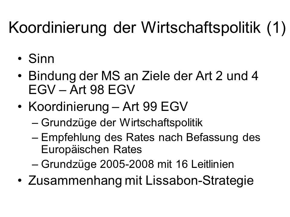 Koordinierung der Wirtschaftspolitik (1)