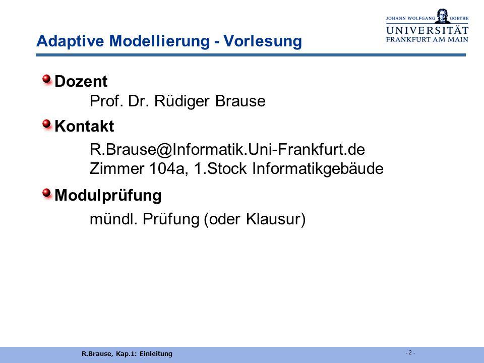 Adaptive Modellierung - Vorlesung