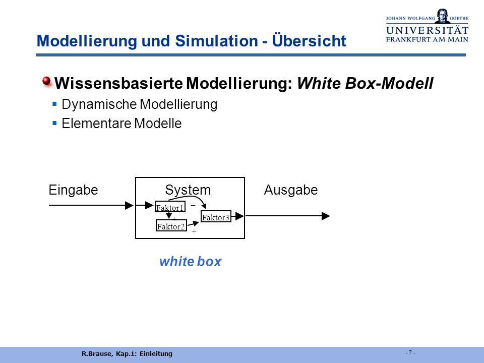 Modellierung und Simulation - Übersicht