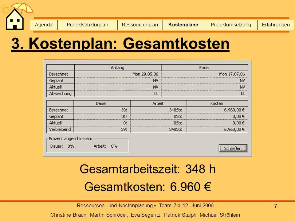 3. Kostenplan: Gesamtkosten