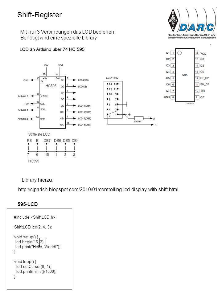 Shift-Register Mit nur 3 Verbindungen das LCD bedienen