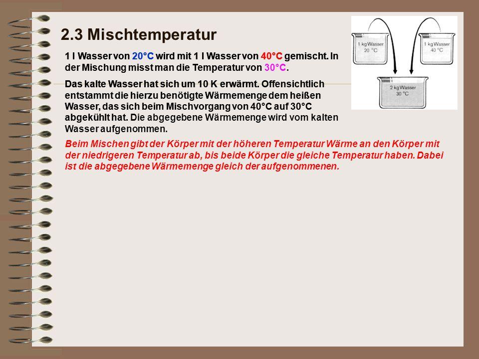 2.3 Mischtemperatur 1 l Wasser von 20°C wird mit 1 l Wasser von 40°C gemischt. In der Mischung misst man die Temperatur von.