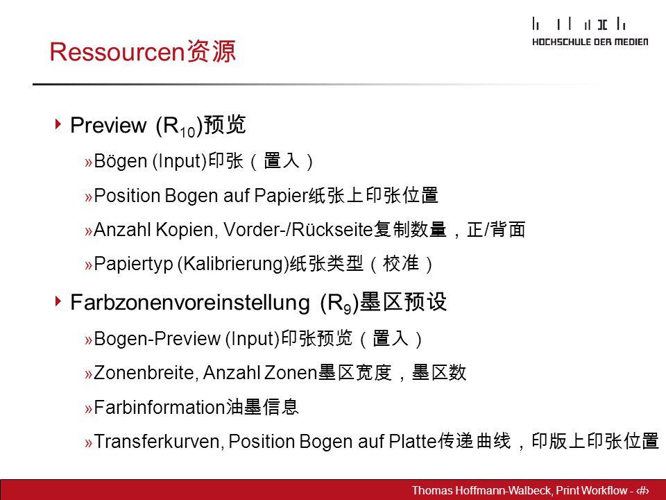 Ressourcen资源 Preview (R10)预览 Farbzonenvoreinstellung (R9)墨区预设