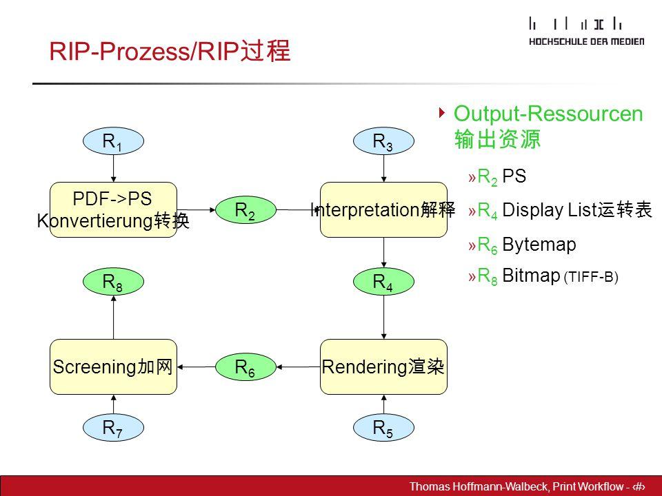 RIP-Prozess/RIP过程 Output-Ressourcen 输出资源 R2 PS R4 Display List运转表