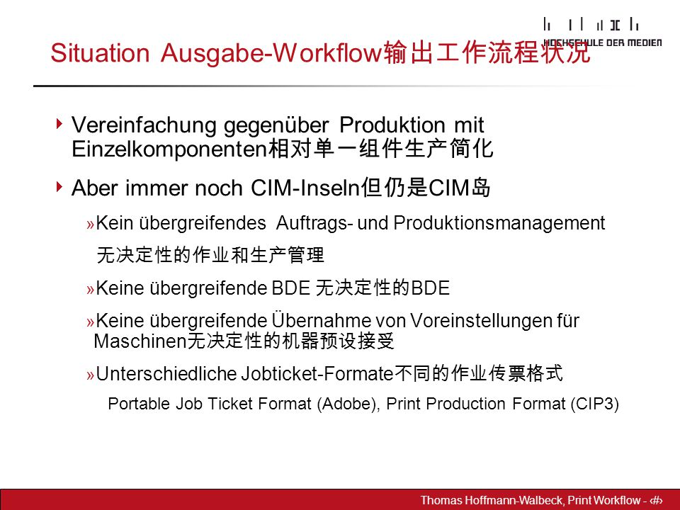 Situation Ausgabe-Workflow输出工作流程状况