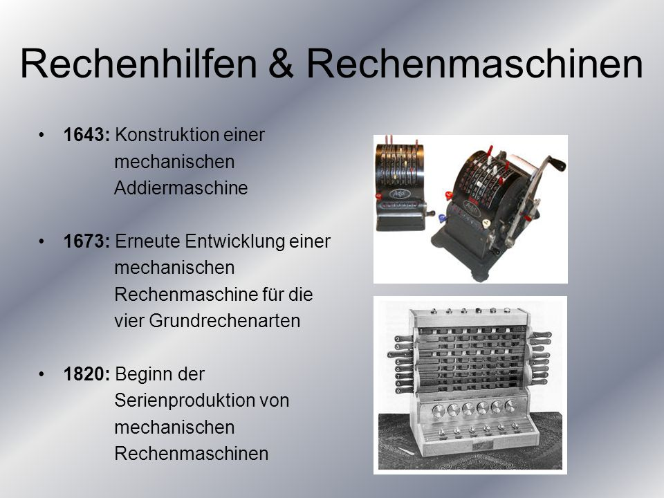 Rechenhilfen & Rechenmaschinen