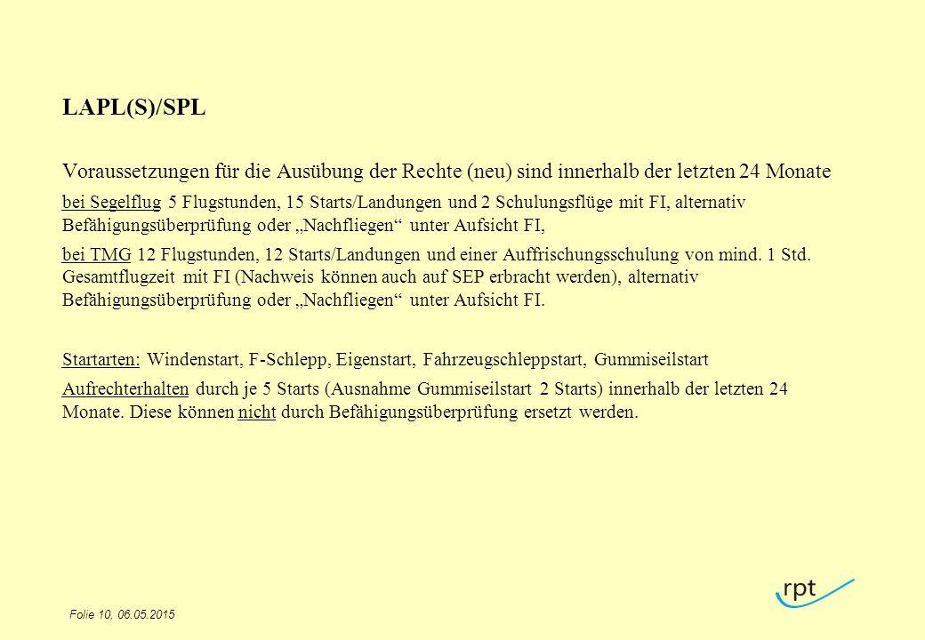 LAPL(S)/SPL Voraussetzungen für die Ausübung der Rechte (neu) sind innerhalb der letzten 24 Monate.