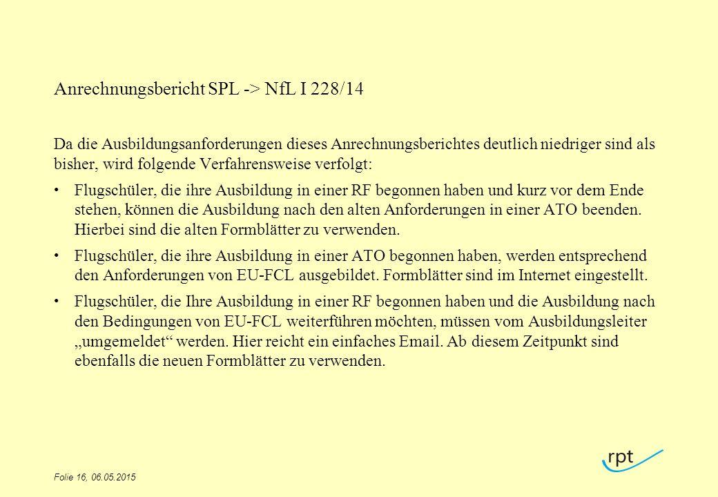Anrechnungsbericht SPL -> NfL I 228/14