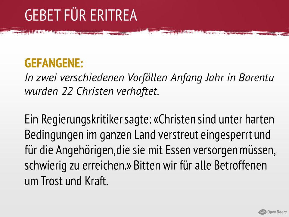 GEBET FÜR ERITREA GEFANGENE: