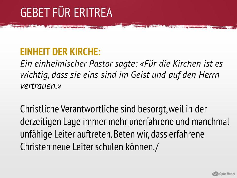 GEBET FÜR ERITREA EINHEIT DER KIRCHE:
